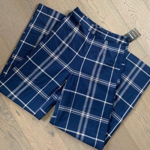 Blue and White Plaid Check Wide Leg Pants Trousers